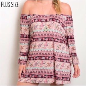 Plus Size Off Shoulder Boho Dress